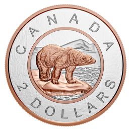 2018 Canadian $2 Big Coin Series: Polar Bear 5-ounce Fine Silver & Rose Gold-plated Toonie Coin
