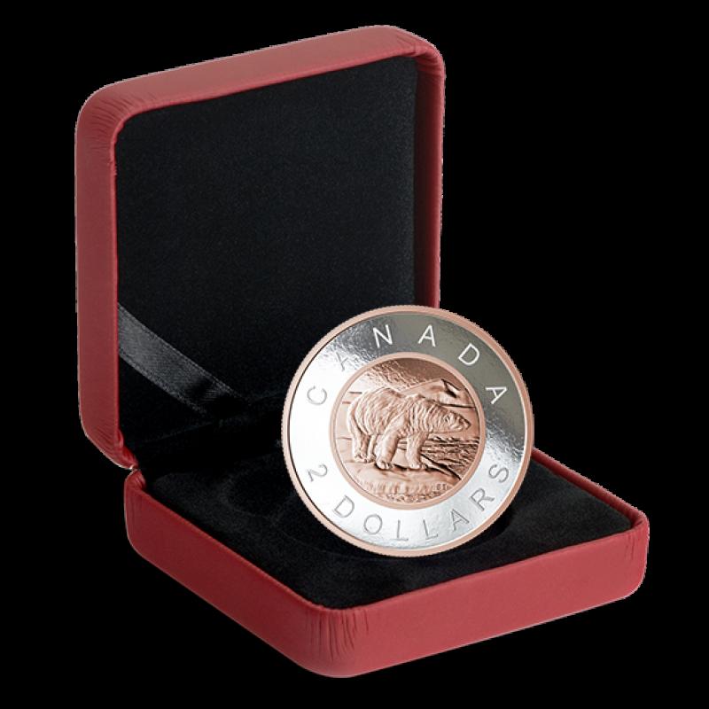 2018 Canadian $2 Big Coin Series: Polar Bear 5-ounce Fine Silver & Rose  Gold-plated Toonie Coin