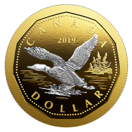 2019 Loon Dollar Loonie Proof Silver $1 Coin Canada w//GoldPlating from D-Day Set