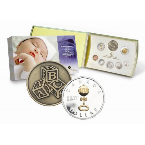 2007 Canada Premium Sterling Silver Baby Coin Gift Set Baby Rattle