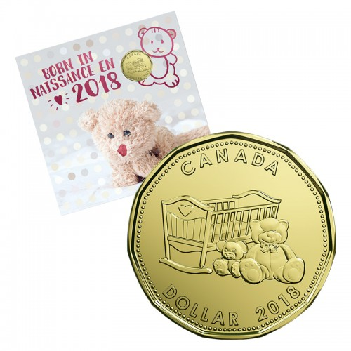 2018 Canadian 5-Coin Baby Born In Gift Set ft $1 Crib & Teddy Bear Loonie Dollar