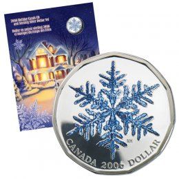2006 Canadian $1 Coloured Snowflake Sterling Silver Dollar & Holiday Carols CD Gift Set