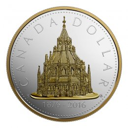 2016 (1867-) Canadian $1 Renewed Silver Dollar Series: Library of Parliament - 2 oz Fine Silver & Gold-plated Coin *Masters Club Exclusive*