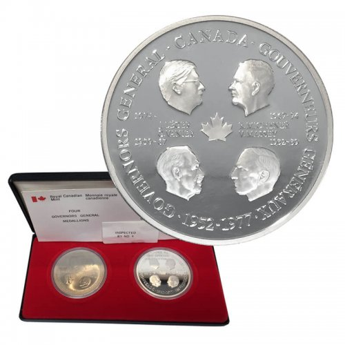 1977 (1952-) First Four Canadian Governors General 25th Anniversary Medallion Set