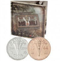 2004 Sterling Silver 5 Cent Coin & Medallion - D-Day, with CD-ROM