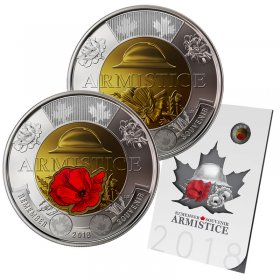2018 Canadian Armistice 6-Coin Commemorative Collection ft $2 Coloured Poppy Toonie Coin