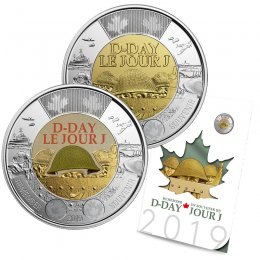 2019 Canadian D-Day 6-Coin Commemorative Collection ft $2 Coloured Remembrance Toonie Coin