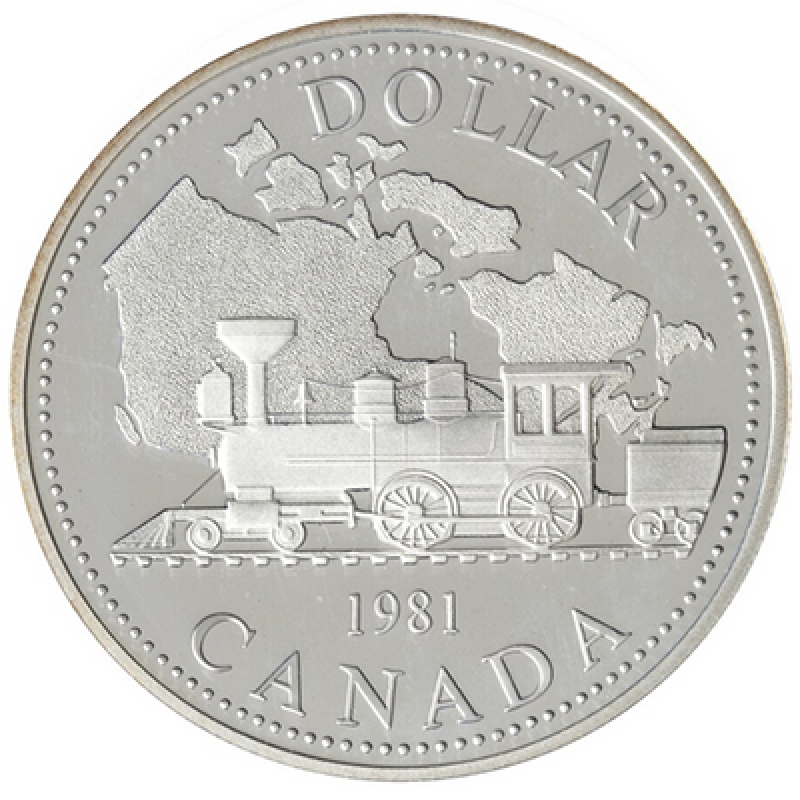 1981 Canada Double Dollar Proof Set W// Locomotive Silver Dollar and Canoe Dollar
