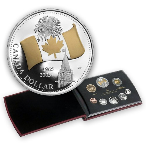 2005 Canada Proof Double Dollar Set - 40th Anniversary of Canada's National Flag