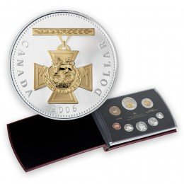 2006 Canada Proof Double Dollar Set - 150th Anniversary of the Victoria Cross-coins may be toned-case has small tears