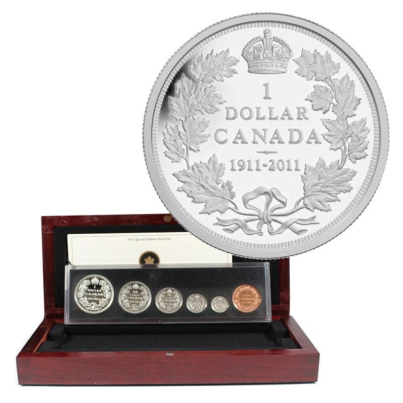 2011 1911 Canadian 6 Coin 100th Anniversary Of The Silver Dollar Proof Set Special Edition