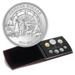 2013 Canadian 7-Coin Silver Dollar Specimen Set ft 2013 (1913-) Arctic Expedition 100th Anniv Dollar