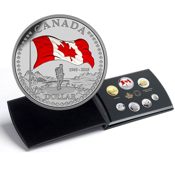2015 Canadian Proof Fine Silver Double Dollar Set - 50th Anniversary of the Canadian Flag