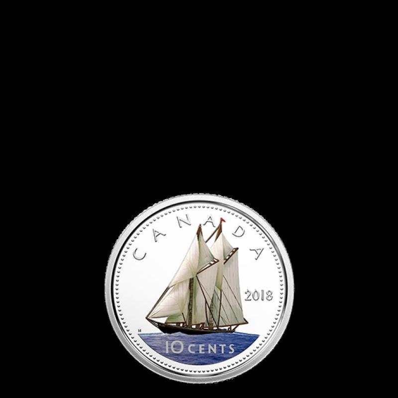 2018 Dime 10-Cent Proof Pure Silver Colour Coin Canada Bluenose Classic Design