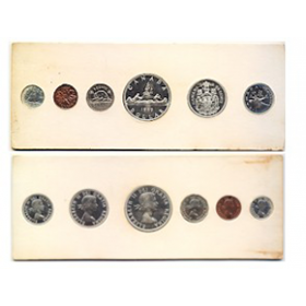 1959 Canadian Proof-Like (PL) Collector Coin Set- original white cardboard - may be toning