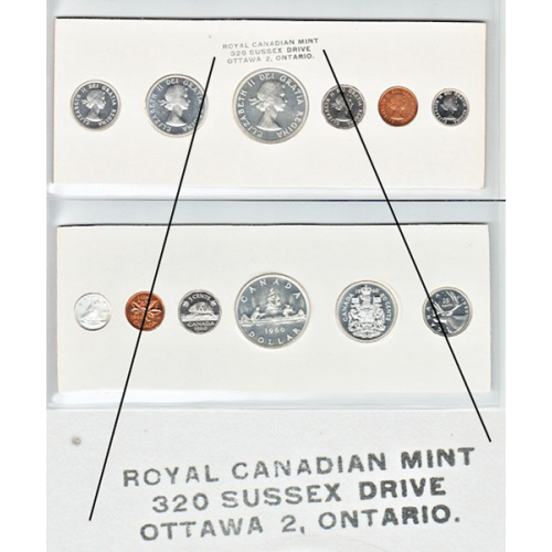 1960 Canadian Proof-Like (PL) Collector Coin Set (Stamp One Variety)-may be toning