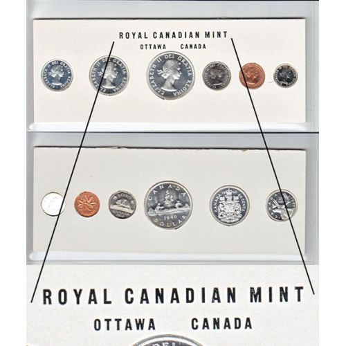1960 Canadian Proof-Like (PL) Collector Coin Set (Stamp Two Variety)