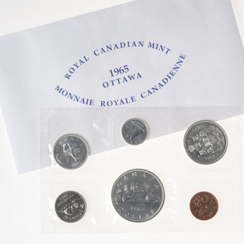 1965 BLUNT 5 Canadian 6-Coin Silver Proof-Like (PL) Collector Set-may have some toning