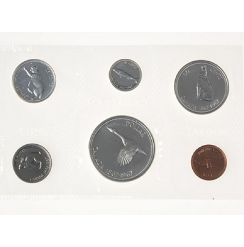 1967 canada uncirculated proof like set centennial - Chemise coin plastique transparent ...