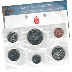 1975 DETACHED JEWEL Canadian 6-Coin Brilliant Uncirculated (Proof-like) Collector Set