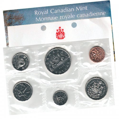 1975 ATTACHED JEWEL Canadian 6-Coin Brilliant Uncirculated (Proof-like) Collector Set