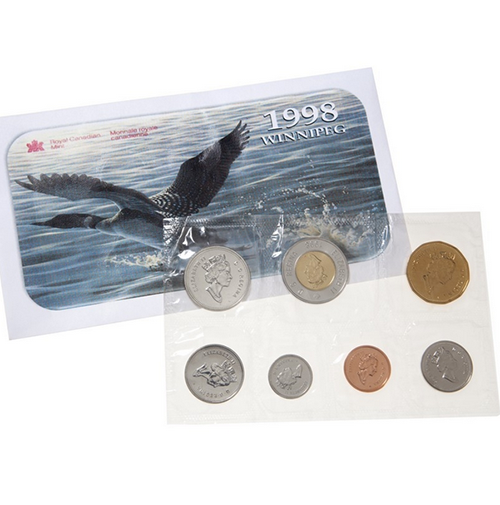 1998 canadian winnipeg uncirculated proof like set - Chemise coin plastique transparent ...