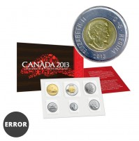 2013 Canada Uncirculated Proof-Like Set / ERROR Double Date on Toonie