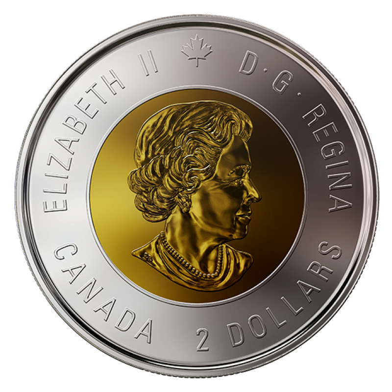 from set 2018 Canada Bimetallic toonie coin Specimen finish coin only