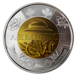 2018 Canadian $2 Armistice 100th Anniv Remembrance Non-Coloured Poppy Toonie Coin (Brilliant Uncirculated)