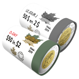 2019 Canadian $2 75th Anniversary of D-Day Special Wrap Coin Roll Collection
