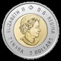 2020 Canadian $2 Bill Reid: Xhuwaji, Haida Grizzly Bear Coloured Toonie Coin (Brilliant Uncirculated)