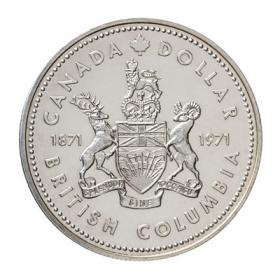 1971 (1871-) Canadian $1 British Columbia Centennial Specimen Silver Dollar Coin-coin toned