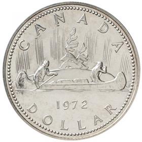 1972 Canada Specimen Silver Dollar - Voyageur Design(may have some tarnish)