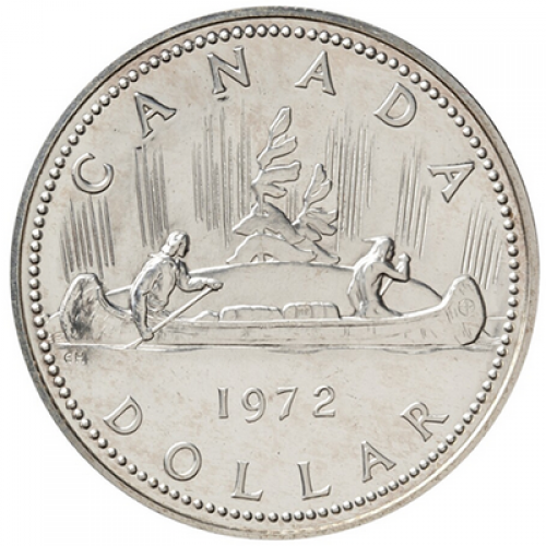 1972 Canadian $1 Voyageur Specimen Silver Dollar Coin-nicely toned-coin toned