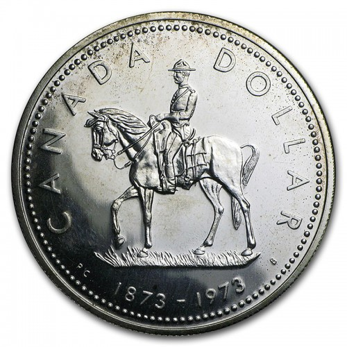 1973 (1873-) Canadian $1 (RCMP) Royal Canadian Mounted Police Centennial Specimen Silver Dollar Coin-coin toned