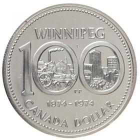 1974 (1874-) Canadian $1 Winnipeg Centennial Specimen Silver Dollar Coin