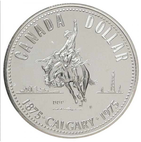 1975 Canada Specimen Silver Dollar - Calgary Centennial