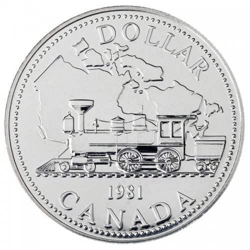 1981 Canadian $1 Trans-Canada Railway Centennial Brilliant Uncirculated Silver Dollar Coin