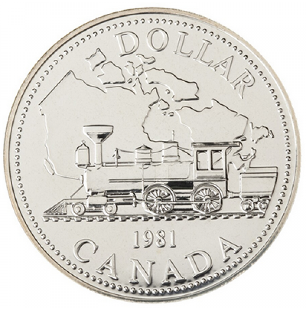 1981 Brilliant Uncirculated Silver Dollar - Trans-Canada Railway Centennial