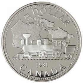 1981 Canadian $1 Trans-Canada Railway Centennial Proof Silver Dollar Coin