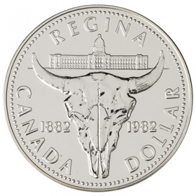 1982 (1882-) Canadian $1 Regina Centennial Brilliant Uncirculated Silver Dollar Coin