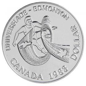 1983 Canadian $1 World University Games in Edmonton Brilliant Uncirculated Silver Dollar Coin