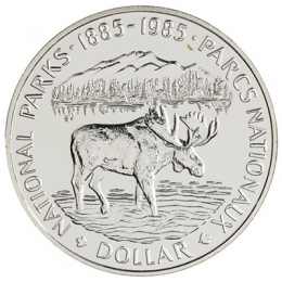 1985 Canada Brilliant Uncirculated Silver Dollar - National Parks Centennial