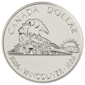 1986 (1886-) Canadian $1 Transcontinental Railroad/Vancouver Centennial Brilliant Uncirculated Silver Dollar Coin