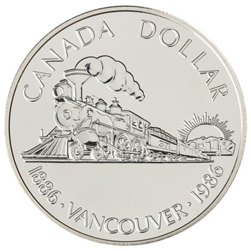 1986 Canada Uncirculated Silver Dollar Train