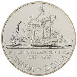1987 Canada Brilliant Uncirculated Silver Dollar - 400th Anniversary of John Davis Exploration
