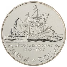 1987 (1587-) Canadian $1 John Davis Exploration/Davis Strait 400th Anniv Brilliant Uncirculated Silver Dollar Coin