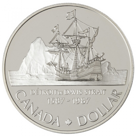 1987 (1587-) Canadian $1 John Davis Exploration/Davis Strait 400th Anniv Proof Silver Dollar Coin
