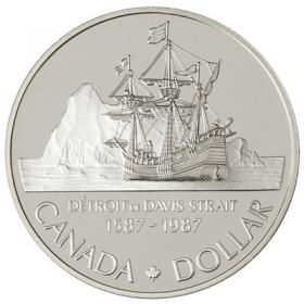 1987 Canada Proof Silver Dollar - 400th Anniversary of John Davis Exploration