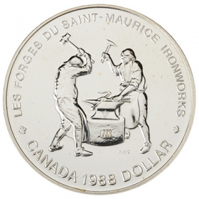 1988 Canadian $1 Saint-Maurice Ironworks Quebec 250th Anniv Brilliant Uncirculated Silver Dollar Coin